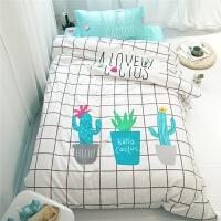 ???纯棉三件套男孩学生宿舍1.2m床品单人儿童可爱床单上下铺被套1.0m 白色 仙人掌