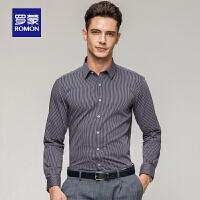 「狂欢!特价商品到手价:69」Romon/罗蒙衬衫长袖100%纯棉尖领条纹青年休闲长袖衬衣男