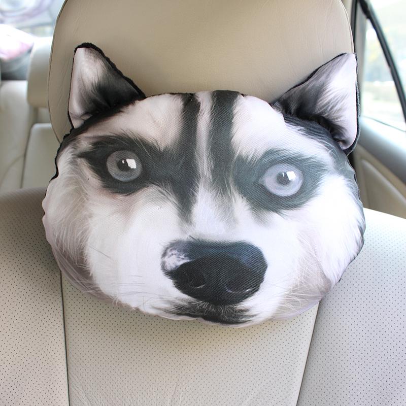 哈士奇汽车头枕3d二哈车载颈枕座椅枕头护颈枕卡通车用靠枕内饰品
