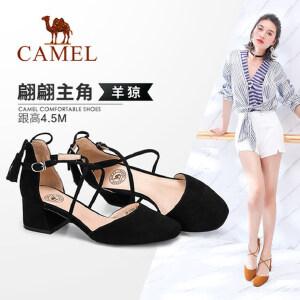 Camel/骆驼女鞋 2018春季新款 通勤浅口粗跟单鞋女系带流苏圆头中跟鞋
