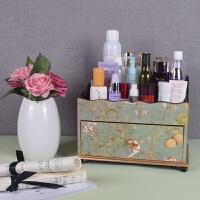 家居生活用品木制化妆品田园收纳盒家用大号桌面抽屉式梳妆台护肤品置物架