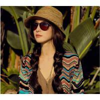 韩版沙滩遮阳帽子女民族风草帽 可折叠礼帽凉帽女海边防晒编织太阳帽