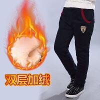 男童加绒裤子儿童冬装运动长裤秋冬款中大童加厚男孩棉裤外穿