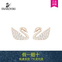 SWAROVSKI/施华洛世奇 SWAN MINI玫瑰金色天鹅耳钉 5144289-1
