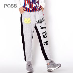 PASS女士运动裤长裤显瘦小脚裤秋冬新款大码宽松学生收口卫裤