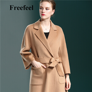 Freefeel2017秋冬新款羊绒大衣中长款女装双面绒修身显瘦八分袖上衣1871