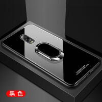 三星c8手机壳Galaxy C8玻璃保护硅胶套SM-C7100防摔C7108男女款潮 【玻璃-黑】送全屏钢膜+挂绳+磁