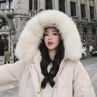 2018冬季新款韩版女装白色超大毛领羽绒服短款小个子外套潮 米色