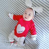 婴儿连体衣服春装女宝宝新生儿长袖0岁6个月春季春夏款睡衣外出服