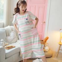 女夏季可外穿连衣裙孕妇哺乳睡衣夏可爱清新韩版棉宽松大码睡裙