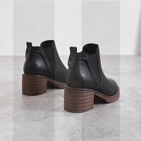 小皮靴女2018秋冬季新款网红女鞋粗跟仙女高跟鞋马丁鞋女短靴中跟SN9917 黑色 加绒