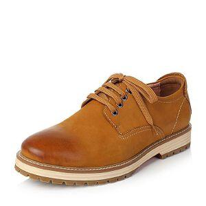 Teenmix/天美意秋专柜同款磨砂牛皮方跟系带鞋男休闲鞋85773CM6