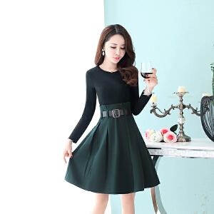 秋季连衣裙女长袖2018新款秋装韩版中长款气质35-45收腰女款裙子