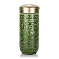 乾唐轩活瓷杯大尊龙随身杯双层防烫陶瓷水杯子办公商务礼品