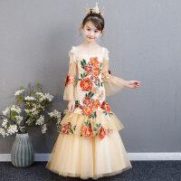女童模特走秀礼服儿童礼服公主裙长袖主持人表演服装生日鱼尾礼服 香槟色