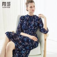 颜域品牌女装2018夏季新款简约荷叶领收腰显瘦雪纺宽松连衣裙
