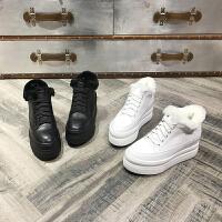 欧洲风格站2017冬季新款女鞋牛皮厚底内增高绒里保暖休闲鞋高跟鞋