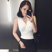2018 新款性感大码交叉V领哺乳衣性感修身显瘦打底无袖上衣夏季喂奶吊带短背心时尚潮流 白色