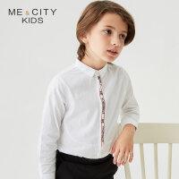 【1件2折到手价:45.8】米喜迪mecity童装春新款男童织带装饰全棉长袖衬衫