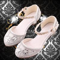 女童高跟凉鞋韩版包头水晶公主鞋儿童演出舞蹈鞋