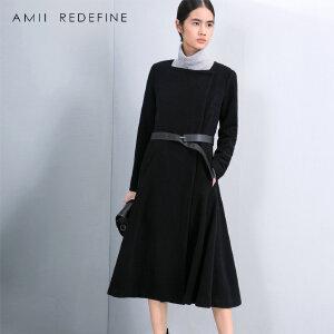 [AMII东方极简] JII AMII冬季大码长款百搭羊毛呢女装系腰带款收腰外套呢子大衣女