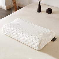 乳胶枕芯 护颈枕记忆橡胶酒店睡眠单人颈椎枕头 乳胶高低颗粒按摩枕-白色 40*60CM