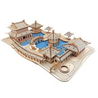 凉亭子房屋手工diy拼插儿童玩具难 木质拼图立体3d模型中国风建筑