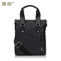 BEIER 贝尔 韩版男包包男士单肩包真皮包公文包商务斜跨包休闲时尚手提包