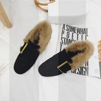 粗跟真皮兔毛豆豆鞋女冬季2018新款韩版高跟金属链单鞋加绒毛毛鞋SN1360