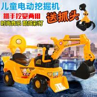 儿童挖掘机小孩大号可坐可骑挖土机男孩电动挖机2-6岁玩具工程车