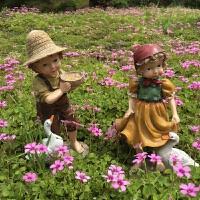 树脂工艺品创意人物家居房间装饰品摆设美式乡村花园园艺动物摆件 乡村男孩女孩