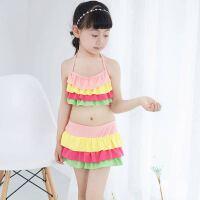 泳衣女童可爱分体裙式比基尼三角裤沙滩泡温泉宝宝中大童泳装 4号色 均码(40-55斤)