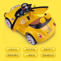 儿童电动车摇摆童车带遥控1-4岁婴幼儿玩具车可坐人四轮小黄人车 黄色