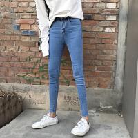 铅笔裤女百搭显瘦高腰牛仔裤春季新款韩版学生弹力修身毛边九分裤