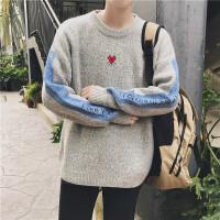 潮流个性男士春秋圆领薄款青少年套头毛衣学生韩版宽松打底针织衫 浅灰色 B422薄款毛衣