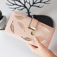 长款钱包女2018新款韩版时尚大气镂空叶子拉链搭扣手拿包皮夹钱夹