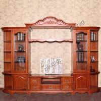 zuczug家具客厅地柜欧式组合厅柜美式乡村红橡木全实木带酒柜电视柜 橙黄色 组装