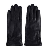 新年优惠【NEW】绵羊皮真皮手套女士韩版保暖加绒加厚开车骑行浅灰色秋冬短款手套