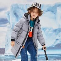 【1件4折价:319.6】moomoo童装男童羽绒服冬装新款大童长款可拆卸羽绒外套保暖厚