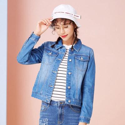 【满99减70】美特斯邦威牛仔夹克女显瘦2018春装新款小个子社会外套女韩版潮X