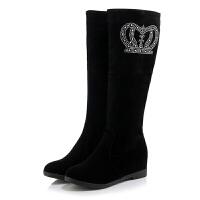秋冬季女靴子平根绒面侧拉链长靴加厚高筒靴增高33-43大小码真皮 黑色