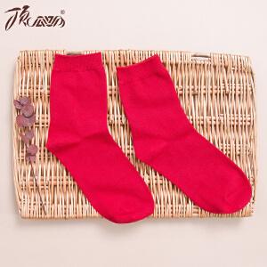顶瓜瓜本命年红袜子女秋冬狗年鸿运棉袜中筒大红色结婚短袜2双装