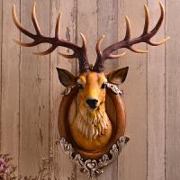 招财鹿头墙壁挂件壁饰欧式创意玄关客厅酒吧背景立体装饰 创意家居墙饰壁饰礼品