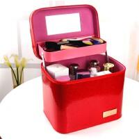 韩版手提双层化妆箱 大容量大号立体定型化妆包收纳盒四方包