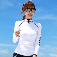 春秋运动跑步上衣女长袖拉链立领显瘦瑜伽服弹力速干健身外套 白色 线条