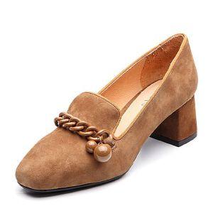 BASTO/百思图2018春季专柜同款羊绒皮方头粗跟浅口女皮鞋RGA20AQ8