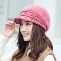 女秋冬天兔毛鸭舌贝雷帽冬季保暖羊毛针织毛线帽休闲