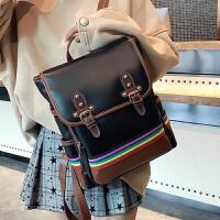 双肩包女2018新款韩版校园学生大容量书包简约背包复古森系旅行包