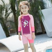 新款�和�泳衣男童女童泳�b分�w�L袖短�游泳衣防���水服