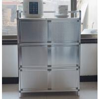 不锈钢灶台柜橱柜碗柜菜厨不锈钢柜简易橱柜收纳餐边柜 双门